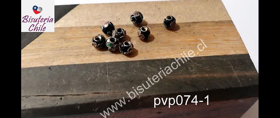 Perla española negra de 6 mm, set de 8 unidades