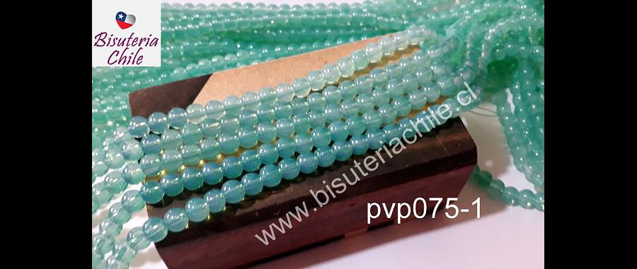 Perla de vidrio 6 mm jade, tira de 150 piedras aprox