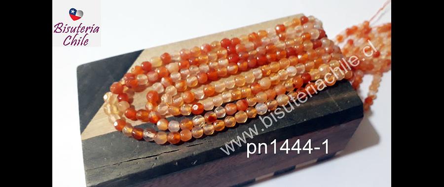 Agata de 4 mm en tonos naranjas, tira de 92 piedras