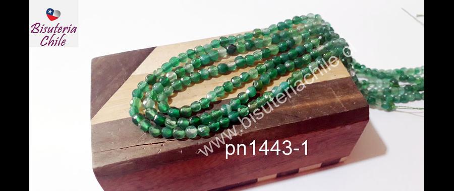 Agata de 4 mm en tonos verdes, tira de 92 piedras