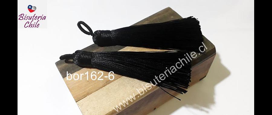 Borla gruesa 1 era calidad, de hilo de seda color negro, 8 cm de largo, set de 2 unidades