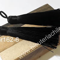 Borla gruesa 1 era calidad, de hilo de seda color negro, 7 cm de largo, set de 2 unidades