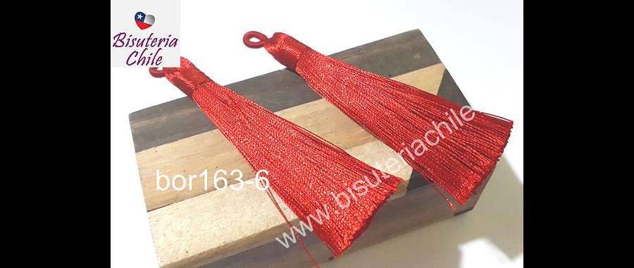 Borla gruesa 1 era calidad, de hilo de seda color rojo, 7 cm de largo, set de 2 unidades. San Valentin
