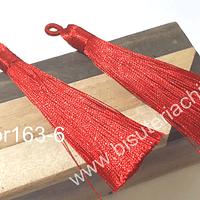 Borla gruesa 1 era calidad, de hilo de seda color rojo, 7 cm de largo, set de 2 unidades