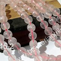 Cuarzo rosado facetado de 10 mm, tira de 38 piedras aprox