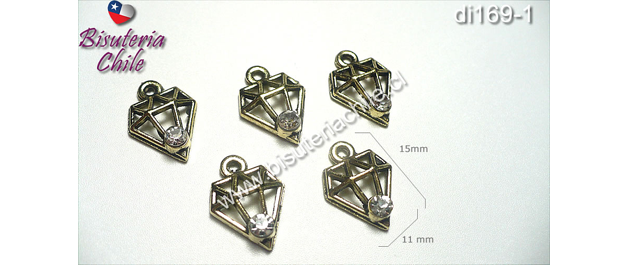 Dije dorado en forma de diamante con circón, 15 mm de alto por 11 mm de ancho, set de 5 unidades