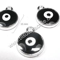 Dije ojo de turco negro, 15 mm de diámetro, set de 3 unidades