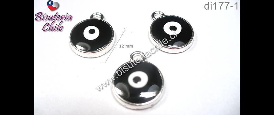Dije ojo de turco negro, 12 mm de diámetro, set de 3 unidades