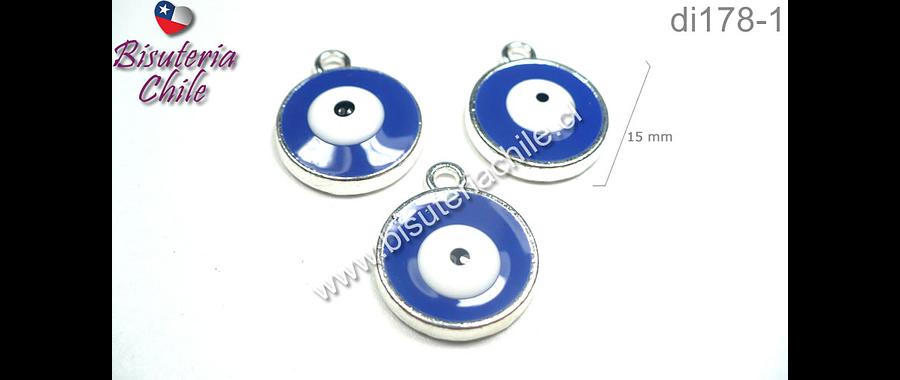 Dije ojo de turco azul, 15 mm de diámetro, set de 3 unidades