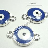 Dije ojo de turco azul doble conexión, 12 mm de diámetro, set de 3 unidades