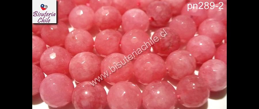 Piedra Agata de 10 mm en tonos rosado, tira de 38 piedras aprox