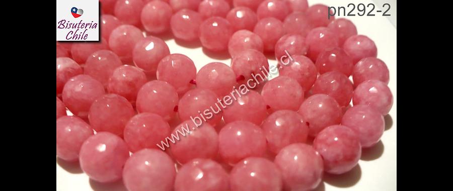 Piedra Agata de 8 mm en tonos rosados,  tira de 48 piedras aprox