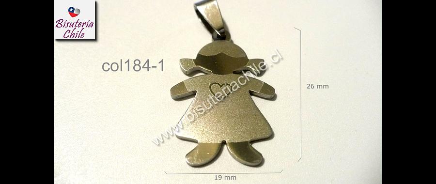 Colgante acero en forma de niña 26 mm de alto por 19 mm de ancho, cada uno