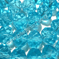 Cristal 10 mm x 8 mm, color celeste, tira de 20 unidades