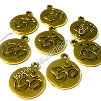 Dije dorado en con símbolo om,  12 mm de diámetro, set de 8 unidades