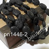 Volcánica negra ovalada de 15 x 11 mm, tira de 25 piedras aprox.