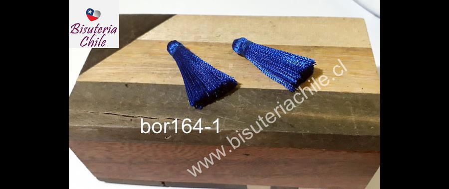 Borla de seda color azul, 26 mm de largo , por par