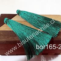 Borla gruesa 1 era calidad, de hilo de seda color verde 7 cm de largo, set de 2 unidades
