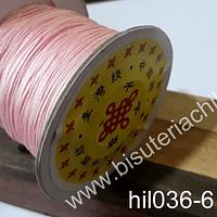 Hilos, Hilo chino color rosado, 0,5 mm de ancho, rollo de 150 metros