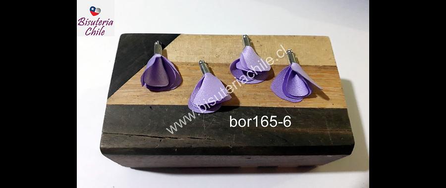 Borla de en forma de flor, color lila, en base plateado, 26 mm de largo x 13 mm de ancho, ser de 4 unidades