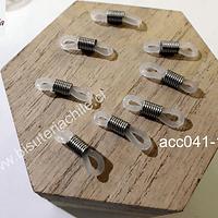 Gomitas para lentes, blanco transparente, 21 mm de largo x 5 mm de ancho, set de 8 unidades
