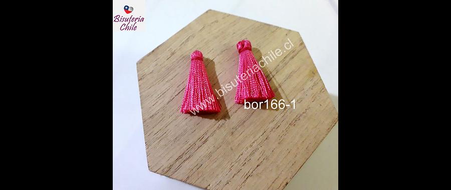 Borla de seda color rosado fuerte, 26 mm de largo , por par