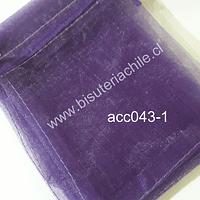 Bolsa de organza morada, 10x14 , set de 10 unidades