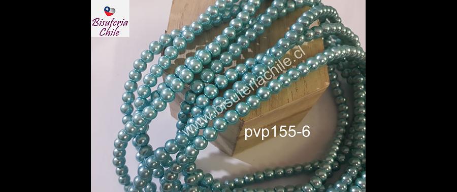 perla de vidrio celeste, imitación perla 6 mm, tira de 150 perlas