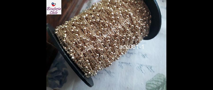 Cadena dorada con bola, eslabón de 1,5, y sep bola de 4mm, por metro