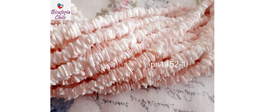 Nacar picado en color rosado entre 8 y 10 mm x 1 mm, tira de 41 cm aprox