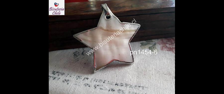 Colgante de nacar natural con bordes plateados en forma de estrella, 55 mm diámetro, por unidad
