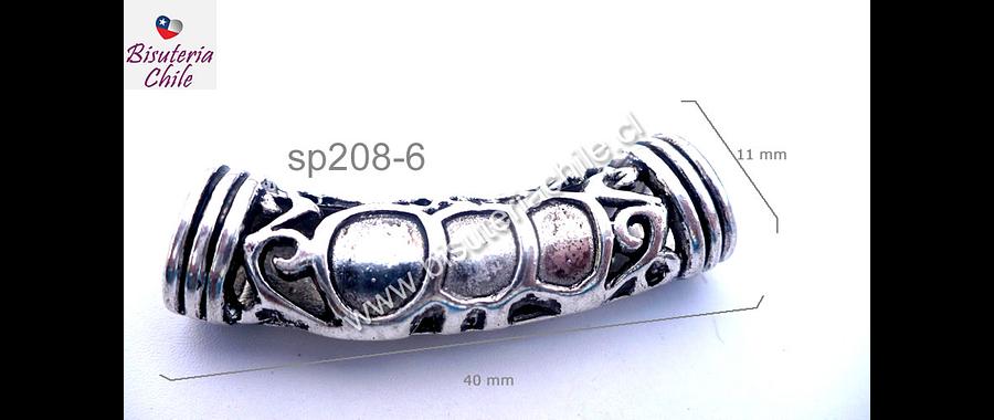 Base de pulsera plateada, 40 mm de largo por 11 mm de ancho, agujero de 8 por 7 mm, por unidad
