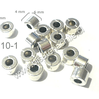 Separador plateado, 6 mm de diámetro por 4 mm de ancho, agujero de 2,  set de 15 unidades