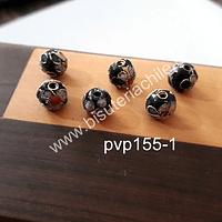 Perla española 8 mm en tonos negros, set de 6 unidades
