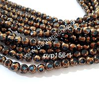 vidrio color celeste con cobre, 8 mm, tira de 40 perlas aprox.