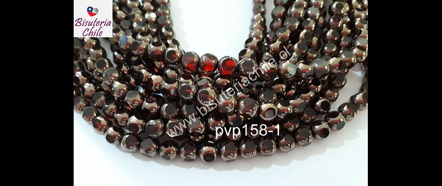 vidrio color rojo con cobre, 8 mm, tira de 40 perlas aprox