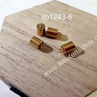 Terminal de acero dorado, 7 x 6 mm, agujero de 5 mm, set de 4 unidades