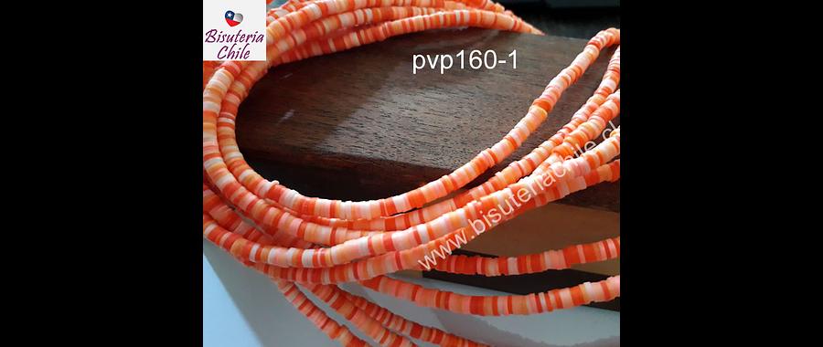 Tira de cuentas de goma, tonalidades naranjos, 4 mm de diámetro, tira de 40 cm de largo aprox