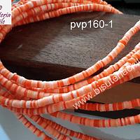 Fimo Tira de cuentas de goma, tonalidades naranjos, 4 mm de diámetro, tira de 40 cm de largo aprox