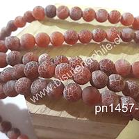 Agata frosting 8 mm, color rojo, tira de 47 piedras aprox
