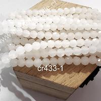 Cristal redondo de 6 mm, color blanco piedra luna, tira de 50 cristales aprox