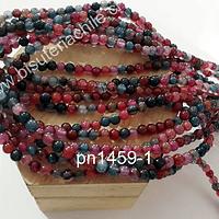 Agata lisa de 4 mm, en tonos fucsias, rosados y verdes, tira de 93 piedras aprox