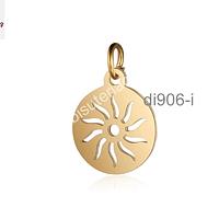 Dije sol, acero dorado, 12 mm de diámetro, por unidad