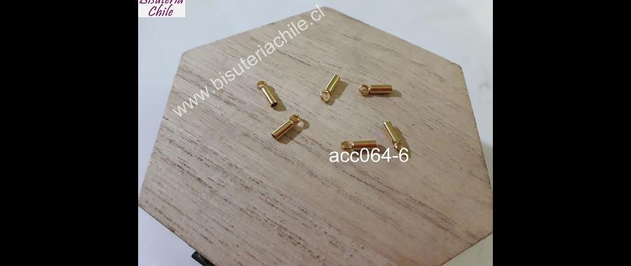 Terminal de acero dorado, 5 x 2 mm, agujero de 1.5 mm, set de 6 unidades