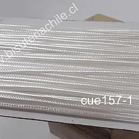 Cordón Soutache color blanco, 3 mm, rollo de 30 mts.