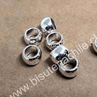 Separador plateado, 9 mm de diámetro x 7 mm de ancho, agujero de 4 mm, set de 6 unidades