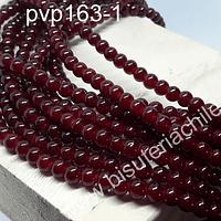 Perla de vidrio 6 mm en color rojo oscuro, tira de 140 perlas