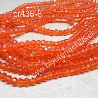 Cristal facetado naranja de 3 mm x 2 mm, tira de 148 cristales aprox.