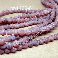 Agata frosting 6 mm, en tonos rojos, tira de 65 piedras aprox