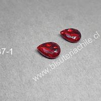 cristal rojo para soutache, 10 x 14 mm, set de 2 unidades